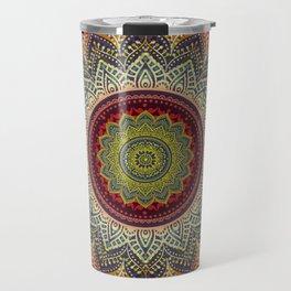 Retro Folk Art - Spirit Lotus Mandala Blue Red Travel Mug