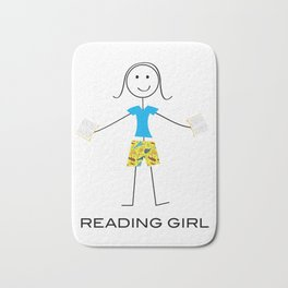 Funny Womens Reading Girl Bath Mat