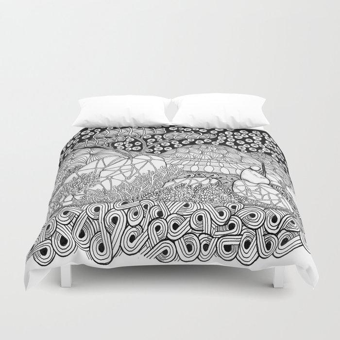 Zentangle Night Solitude Duvet Cover