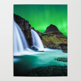 Aurora Borealis Waterfall Poster