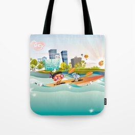 Sunday Morning Kayaking Tote Bag