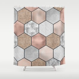 Marble hexagons and rose gold on black Shower Curtain