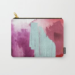 Desert Daydreams [3]: a colorful abstract mixed media piece in purple blue pinks and orange Carry-All Pouch