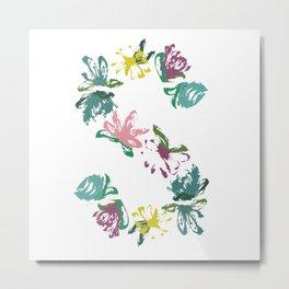 Floral S Monogram Metal Print