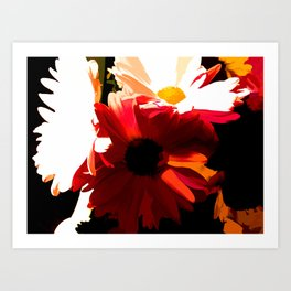Daisies In Abstract Art Print