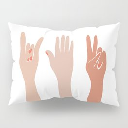 Hand Signs Female Abstract Graphic Design Pillow Sham