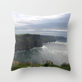 Sun Coming out over Cliffs of Moher Throw Pillow