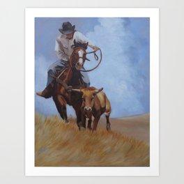 Cowboy and cow Art Print
