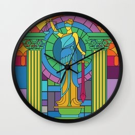 Statue Of Justice Glass Mosaic Painting Colorful Art Gift Wall Clock