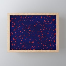 Terrazzo memphis blue galaxy orange Framed Mini Art Print