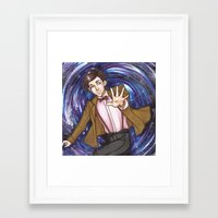 dr who Framed Art Prints featuring Dr. Who  by Synth Obscura Art
