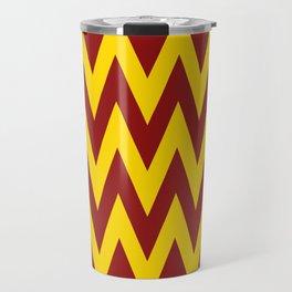 Team Spirit Chevron Brick Red and Yellow Travel Mug