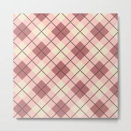 Beige, brown , pink gingham pattern. Metal Print