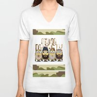 minions V-neck T-shirts featuring Minions Mashup Duck Dinasty by Akyanyme