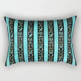 Golden  Egyptian hieroglyphs on frosted glass Rectangular Pillow