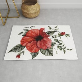 Blooming Red Hibiscus Rug