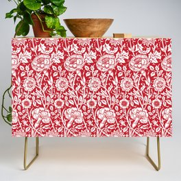 """William Morris Floral Pattern   """"Pink and Rose"""" in Red and White Credenza"""