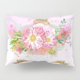 Pink Unicorn and Gold Stars Pillow Sham