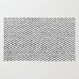 Black and white Hand-drawn ZigZag Pattern Rug