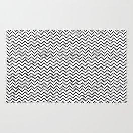 Black & White Hand-drawn ZigZag Pattern Rug