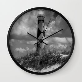 Cape Lookout Lighthouse Bw Wall Clock