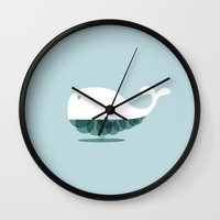 the whale Wall Clocks featuring WHALE by Seokhyun Shim