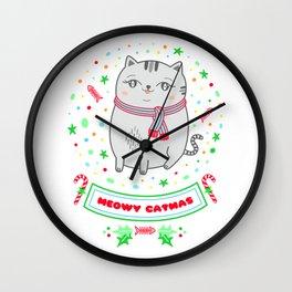 cat christmas gift idea catlady catmom meowy catmas Wall Clock