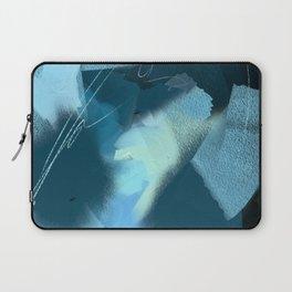 Midnight Blossom: an abstract, mixed media piece in dark and light blue / greens by Alyssa Hamilton Laptop Sleeve