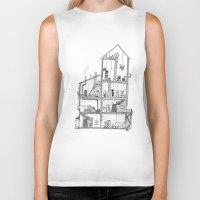 home sweet home Biker Tanks featuring Home Sweet Home by Zorko
