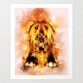 Golden Fountain Lion Art Print