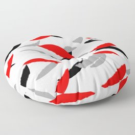 black white red grey abstract minimal pattern Floor Pillow