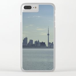 Toronto Skyline with mist floating on the sea Clear iPhone Case