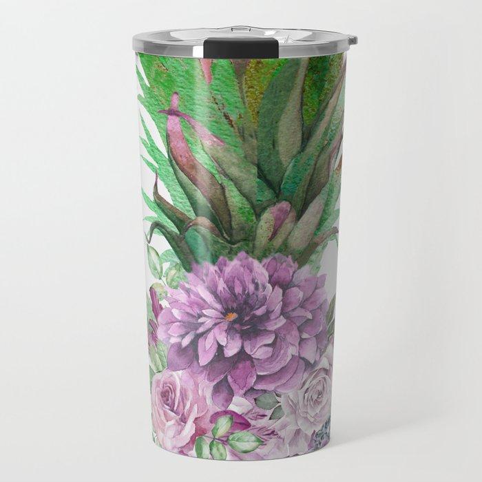 Floral Pineapple 1 Travel Mug
