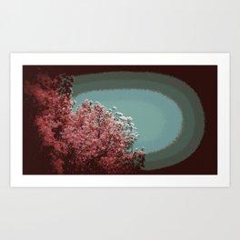 Mod Trees Forest Green Mauve Art Print