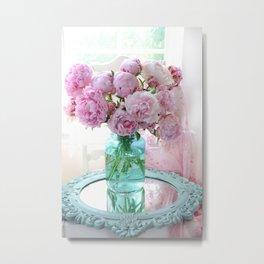 Peonies In Aqua Vase Vintage Romantic Peony Bedroom Decor Metal Print