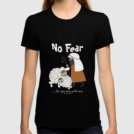 Christian T-Shirts 'No Fear' sheep and shepherd Std T-Shirt T-shirt