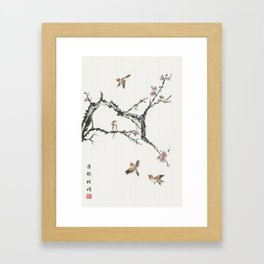 Sparrows & Blossoms Framed Art Print