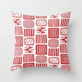 Retro Mid Century Modern Check Pattern 240 Red Throw Pillow