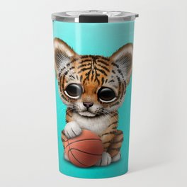 Tiger Cub Playing With Basketball Travel Mug