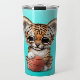 Tiger Cub Playing With Basketball Travel Mug