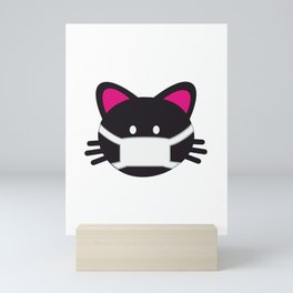 One Tooth Black Cat Kitten Face with Medical Mask Mini Art Print