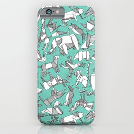 origami animal ditsy mint iPhone Case