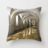 mandie manzano Throw Pillows featuring Winchester Cathedral Crypt by Alice Gosling