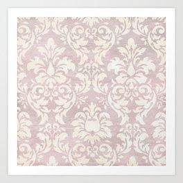 Beige Shabby Damask Pattern Art Print
