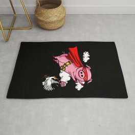 Funny Flying Pig Farm Animal Rug