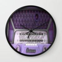 radio Wall Clocks featuring Vintage RADIO by 2sweet4words Designs