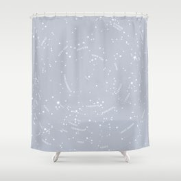 Constellation Map - Gray Shower Curtain