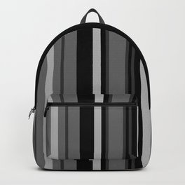 Vertical Stripes # 3 in black, gray and white Backpack