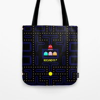 pac man Tote Bags featuring Pac Man by Trash Apparel