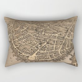 Vintage Pictorial Map of New London CT (1876) Rectangular Pillow